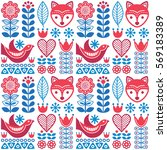 scandinavian seamless folk art... | Shutterstock .eps vector #569183389