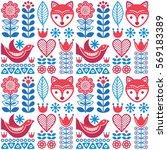 scandinavian seamless folk art... | Shutterstock .eps vector #569183389