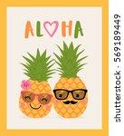 cute pineapple couple cartoon... | Shutterstock .eps vector #569189449