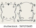 black and white floral frame... | Shutterstock .eps vector #569193685