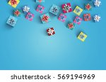 happy birthday and gift box on... | Shutterstock . vector #569194969