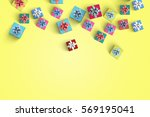 happy birthday and gift box on... | Shutterstock . vector #569195041