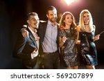 happy stylish friends... | Shutterstock . vector #569207899
