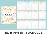 floral bright 2018 calendar.... | Shutterstock .eps vector #569209261