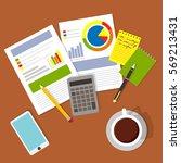 business concept  top view... | Shutterstock .eps vector #569213431