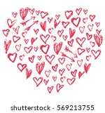 heart with little hand drawn... | Shutterstock .eps vector #569213755