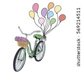 bicycle with balloons and... | Shutterstock . vector #569214511