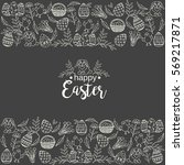 vintage easter background with... | Shutterstock .eps vector #569217871