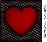 red heart on dark background of ... | Shutterstock .eps vector #569218501