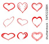 vector heart set with different ... | Shutterstock .eps vector #569222884