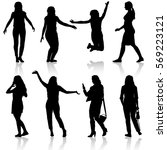black silhouettes of beautiful... | Shutterstock . vector #569223121