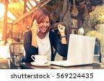 asian beautiful woman feeling...   Shutterstock . vector #569224435