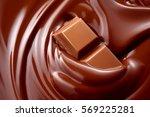 melted hot liquid chocolate...   Shutterstock . vector #569225281
