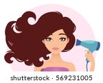 beautiful woman drying her hair ... | Shutterstock .eps vector #569231005