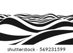 Abstract vector background of waves. 3D optical illusion- line art. | Shutterstock vector #569231599