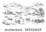 rural landscape with cows and... | Shutterstock .eps vector #569232619