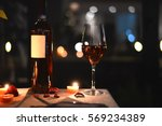 romantic dinner with food and... | Shutterstock . vector #569234389