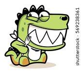 Hungry Cute Alligator Cartoon...