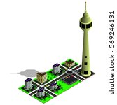 isometric city map. 3d tv tower ... | Shutterstock .eps vector #569246131