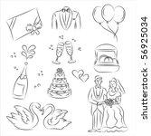 wedding sketch set | Shutterstock .eps vector #56925034