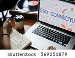 digital community stay... | Shutterstock . vector #569251879