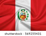 peru flag with fabric texture.... | Shutterstock . vector #569255431