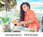 young woman with glass of wine... | Shutterstock . vector #56926366