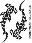 two maori hammerhead sharks.... | Shutterstock .eps vector #569265031