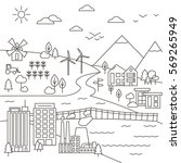 vector set of city  town and... | Shutterstock .eps vector #569265949