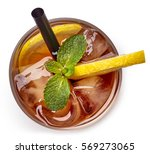 glass of lemon ice tea isolated ... | Shutterstock . vector #569273065