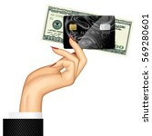 hand of woman holding credit... | Shutterstock .eps vector #569280601
