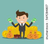 businessman with money   rich... | Shutterstock .eps vector #569284807