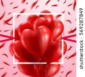 red heart balloons valentine's... | Shutterstock .eps vector #569287849