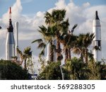 Small photo of Rocket Garden surrounded by Palm Trees at Cape Canaveral, Florida USA