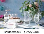 table served for birthday... | Shutterstock . vector #569292301