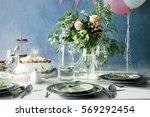 table served for birthday... | Shutterstock . vector #569292454