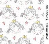 seamless cute princess pattern... | Shutterstock .eps vector #569298409