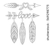 bohemian  love arrows set with... | Shutterstock .eps vector #569298775