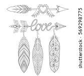 bohemian  love arrows set with...   Shutterstock .eps vector #569298775