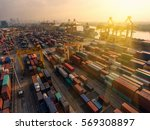 container ship in export and... | Shutterstock . vector #569308897