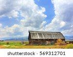 rustic  wooden  log barn has... | Shutterstock . vector #569312701