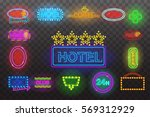 set of neon sign light at night ... | Shutterstock .eps vector #569312929