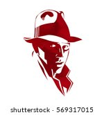 silhouette of man in a hat and... | Shutterstock .eps vector #569317015