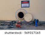 opened rusty manhole on the... | Shutterstock . vector #569317165