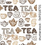 pattern with cup and teapot.... | Shutterstock .eps vector #569318731
