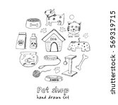 Stock vector hand drawn doodle pets stuff and supply icons set vector illustration vet symbol collection 569319715