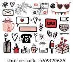 Valentines Day set with love elements, heart, overlays, speech bubbles and etc. Template for Stickers, Greeting Scrapbooking, Congratulations, Invitations, Planners. Vector illustration