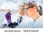 attractive young scientist and... | Shutterstock . vector #569323669