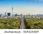 Stock photo aerial view on berlin skyline with tv tower and brandenburger tor seen from tiergarten 569325409