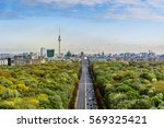 Stock photo aerial view on berlin skyline with tv tower and brandenburger tor seen from tiergarten 569325421